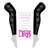 Black Leggings with Floral Lace Inserts | High Stretch UK Size 4-12 | Petite Leg Inseam 26.5 Inches